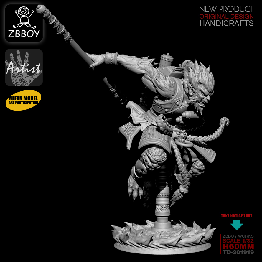 1/32 Resin Kits Wukong Resin Soldier self-assembled TD-201919