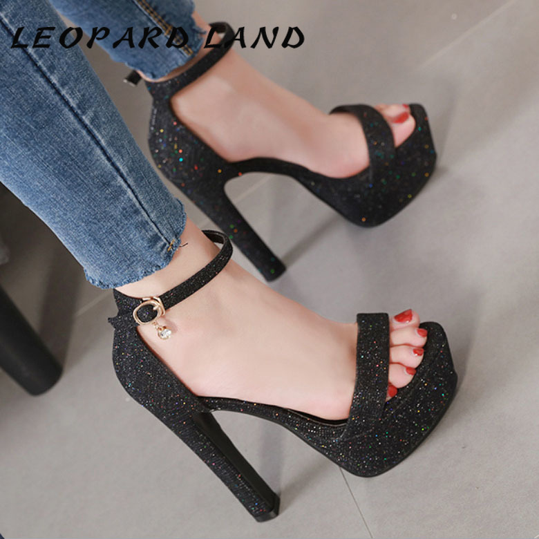LTARTA 2019  Thick With Waterproof Platform High-heeled Shoes Buckle Sequins Open Toe Sandals Women's Shoes  CWF-qm639-8