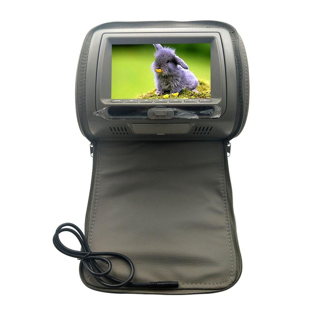 С застежкой-молнией 7 дюймов подголовник автомобиля динамик видео монитор HD ЖК-экран Регулируемая игра Инфракрасный USB dvd-плеер автомобиля дисплей MP5 - Цвет: Grey