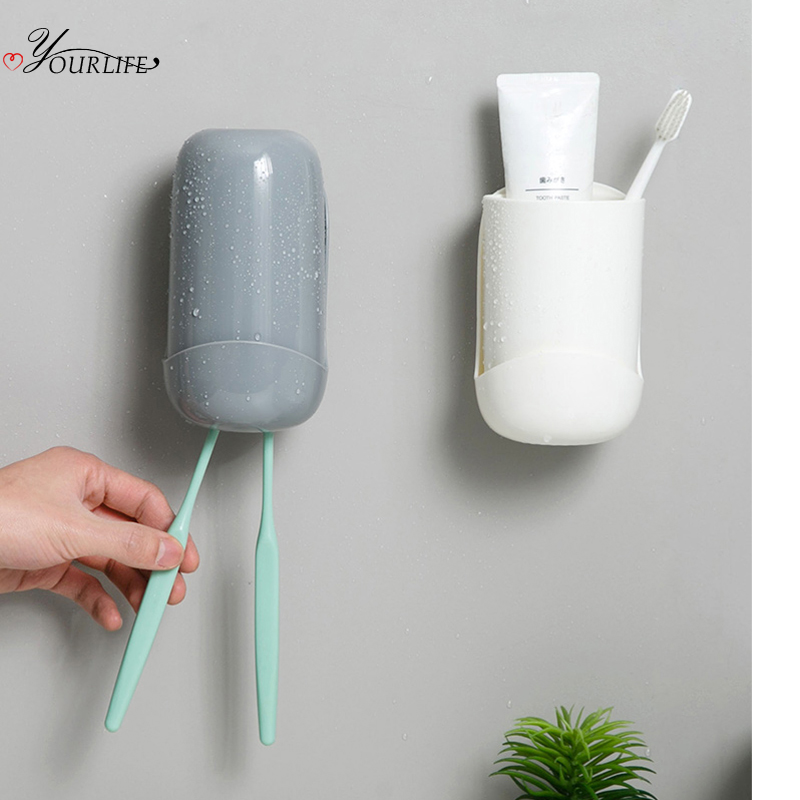 OYOURLIFE Creative Wall Mounted Toothbrush Holder With Cup Bathroom Waterproof Dust-proof Tooth Brush Holder Bathroom Organizer image