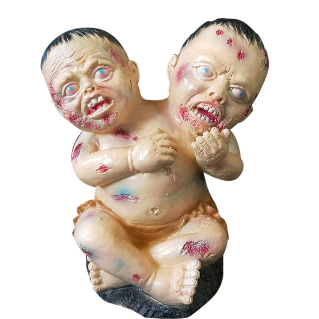 30x21 cm Halloween horreur accessoires Double tête jouets sanglant bébé jouets décoration Halloween fête ornement