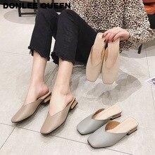 נשים כיכר נעלי אצבע כיכר הבוהן נמוכה עקב נשים מחוץ שקופיות יוקרה מותג פרדות נעלי נשים מקרית בטלן קיץ נעלי בית