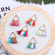 2pcs diy jewelry accessories handmade multi-colored triangle tassel pendant pendant earrings material