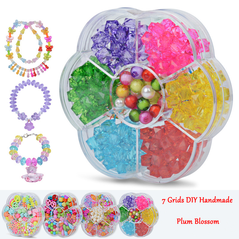 DIY Plastic Handmade Acrylic Bead Kit Accessories DIY Toys Jewelry Making Kids Beads Set Creative Gifts For Children