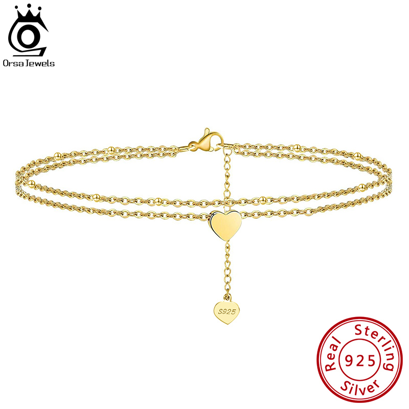 ORSA JEWELS Layered Heart & Satellite Chain Sexy Foot Chain 925 Sterling Silver Anklet Bracelet for Fashion Women Jewelry SA17
