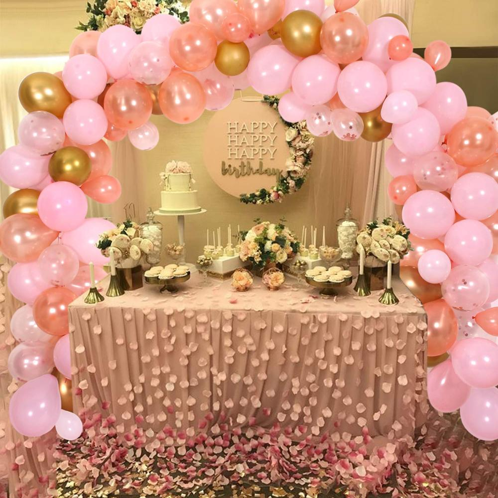 Gold and Pink Balloons Wedding Decorations Birthday Party Girls Baby Shower