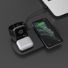 Base de carga 3 en 1 de 15W para Apple Watch 5 4 3 Airpods, soporte de carga inalámbrico rápido Qi para iPhone 11 XS XR X 8 Samsung S10 S9 10W