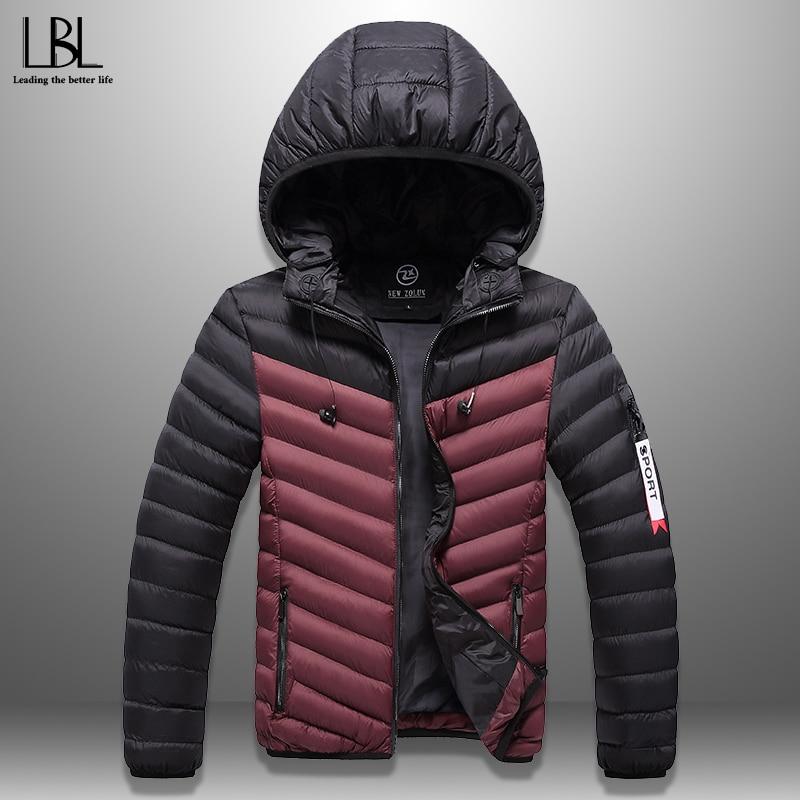 Winter Men's New Coat With Headphones Windproof Men Warm Jacket Patchwork Casual Thick Hooded Men Overcoats Hat Detachable Homme