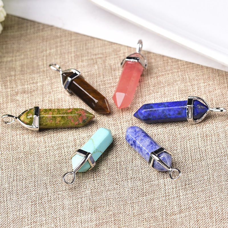 Clearance SaleWholesale Natural Crystal Hexagonal Column Point Pendant Quartz Jewelry Making Charms Trendy Accessories For Unisex Jewelry Gift