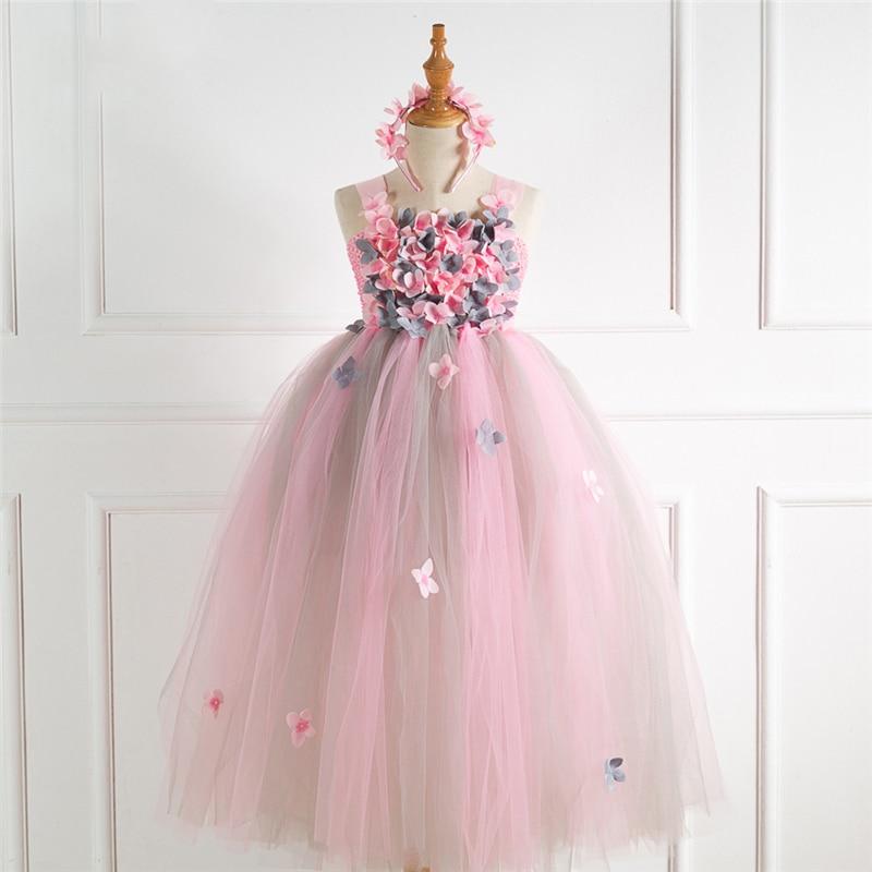 Girls Flower Fairy Costume Cosplay Petal Princess Fancy Dress For Children Halloween Costume For Kids Carnival Party Dress Up
