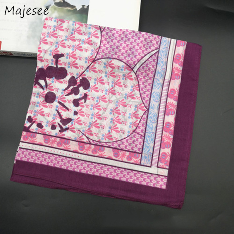 Handkerchiefs Women Soft High Quality Cotton Floral Printed Vintage Simple Pretty Females Square Classic Elegant Ladies Daily