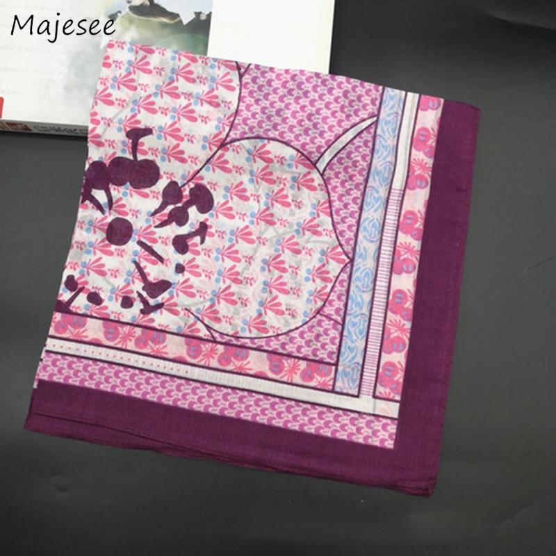 Handkerchiefs Women Soft High Quality Cotton Floral Printed Vintage Simple Pretty Females Square Classic Elegant Ladies Daily