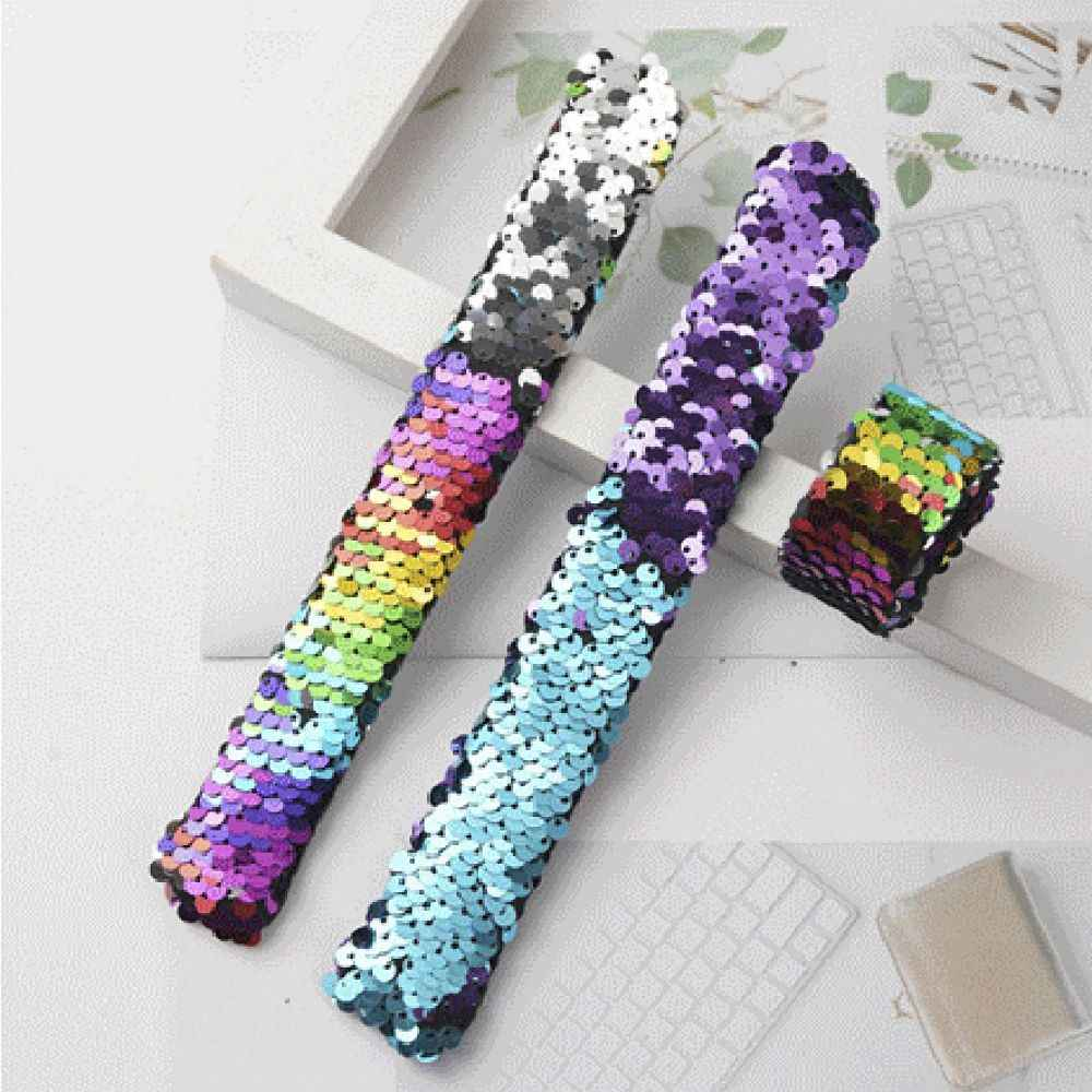 2 Pcs גליטר סטירה צמידי בת ים נצנצים שני צבע טפח צמידי צמיד מסיבת צעצועי עיצוב צמיד אבזרים