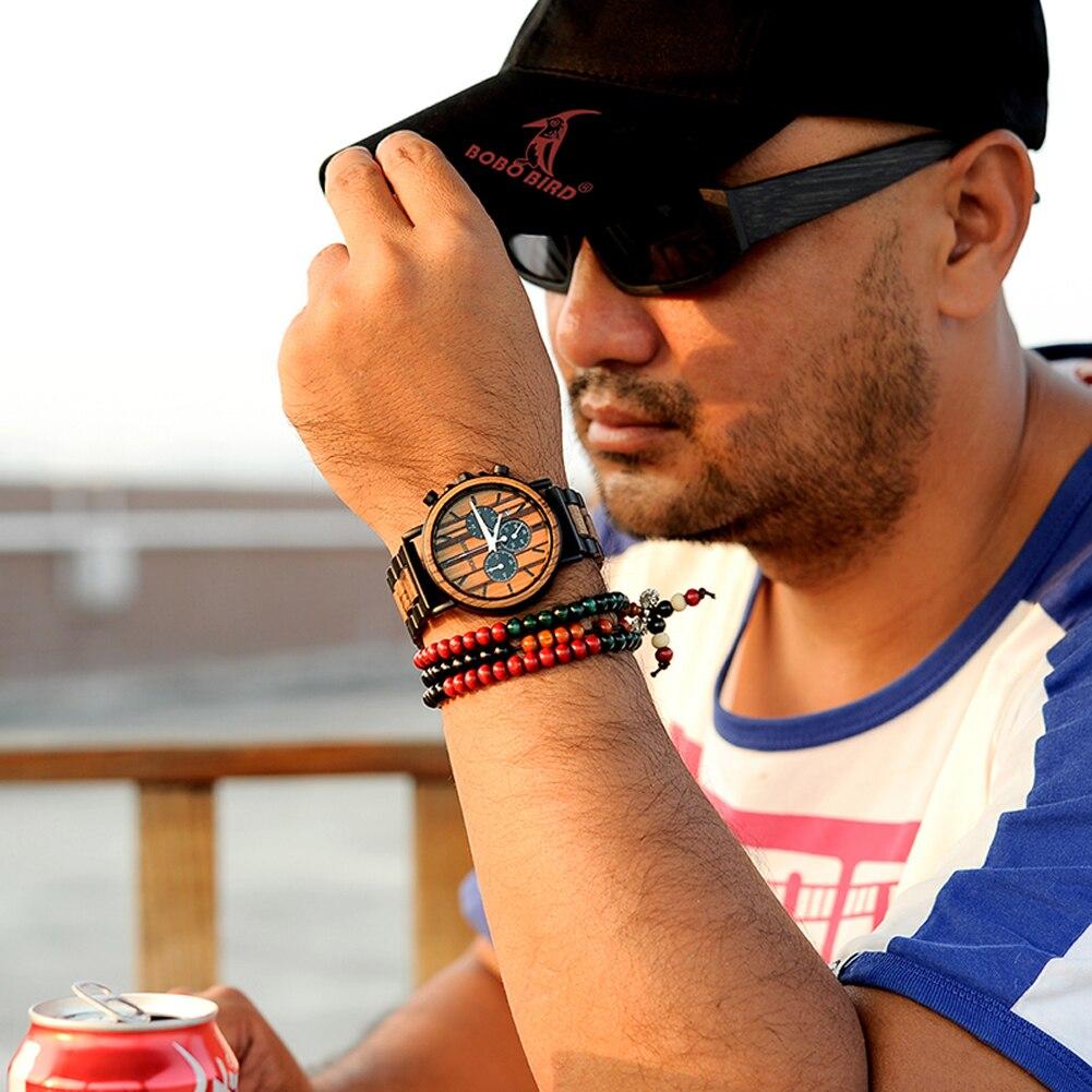 H48d03dc4b3e042b395b7bbf10e559d04S BOBO BIRD Wooden Watch Men erkek kol saati Luxury Stylish Wood Timepieces Chronograph Military Quartz Watches in Wood Gift Box
