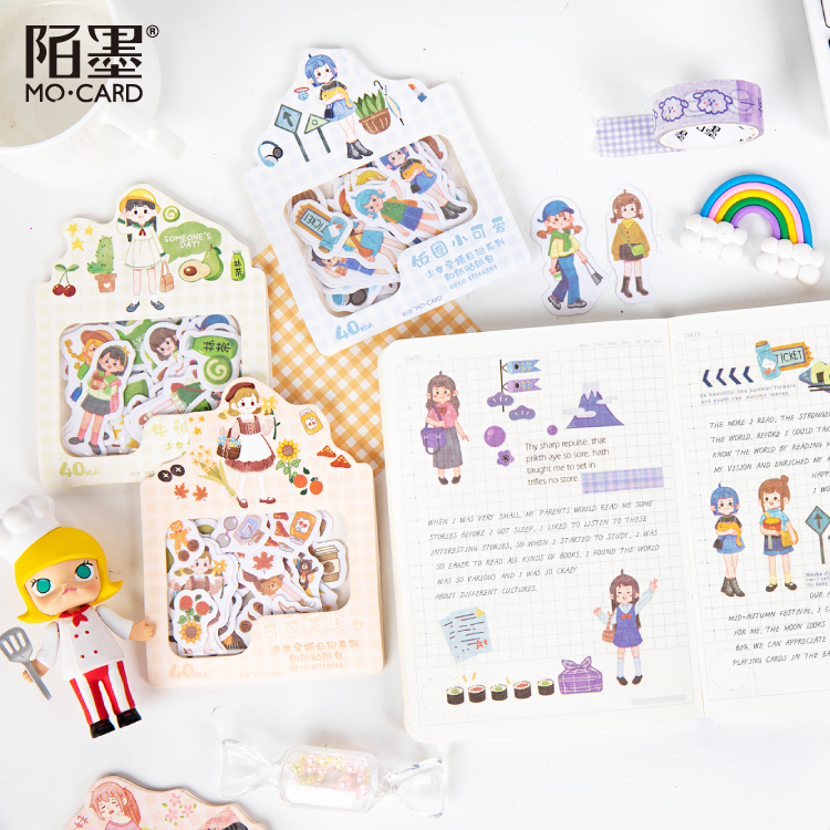 40 Pcs/pack Girl Wear Diary Series Journal Decorative Stickers Bag Scrapbooking Stick Label Cute Stationery Album Stickers