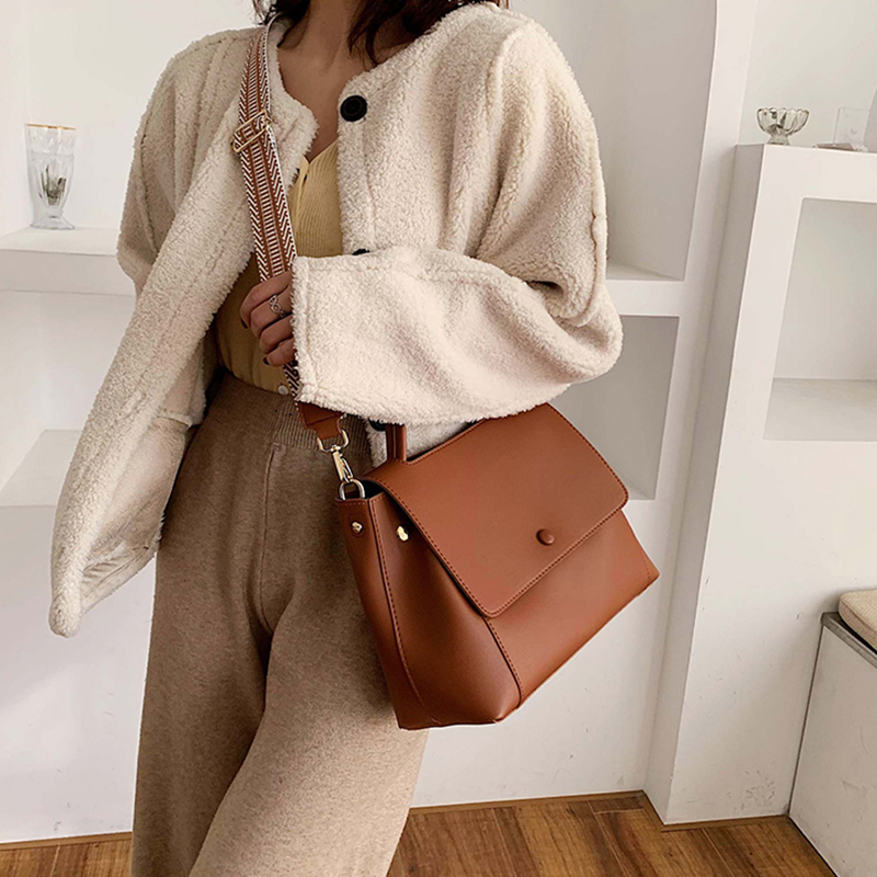 Fashion High Capacity Shoulder Bag Women Totes Casual Korean Totes Messenger Cross-Body Bags Lady Solid Adjustable Strap Handbag