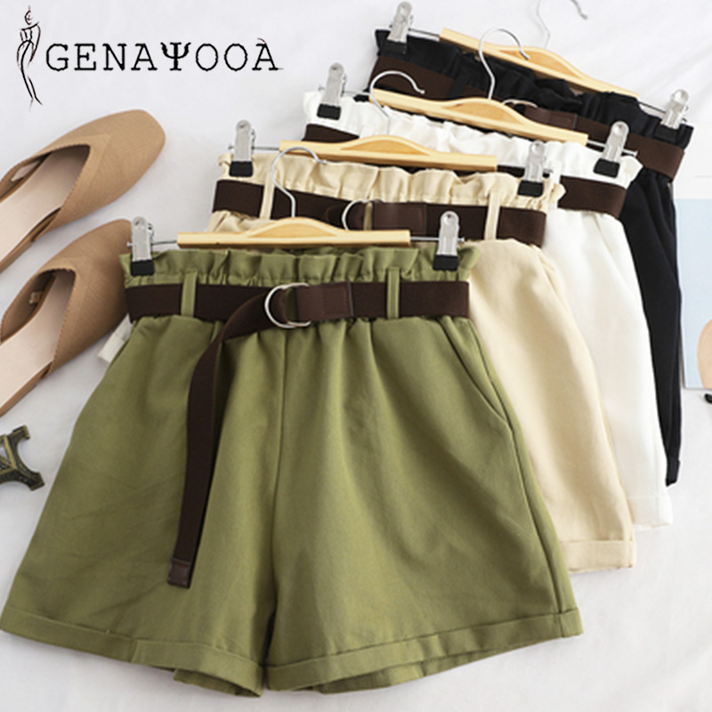 Genayooa Elastic Waist Shorts Women High Waist Shorts Feminino Summer 2020 Woman Korean Casual Mini Shorts Sexy Harajuku