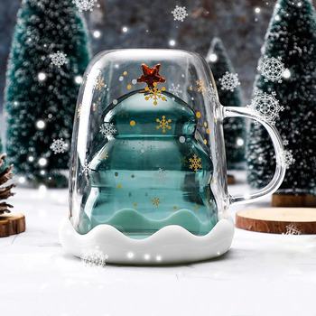 Creative 3D Transparent Double Anti-Scalding Glass Christmas Tree Star Cup Coffee Milk Juice Childrens Gift