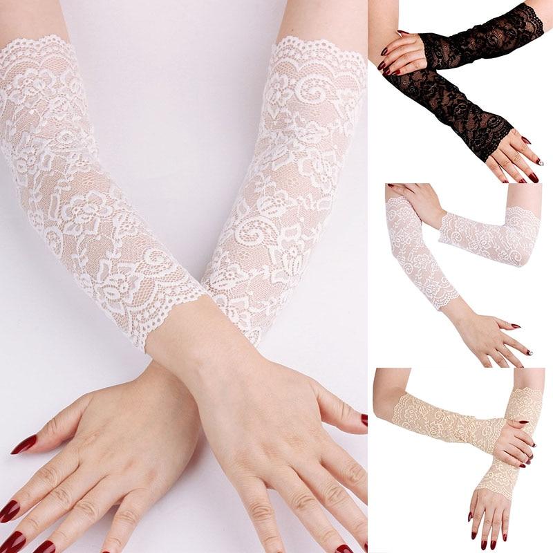 Spitze Sonnencreme Eis Hülse Weibliche Elbow Sleeve Manschette Arm Abdeckung Frauen Sommer Uv Schutz Ärmeln Finger Driving Handschuhe