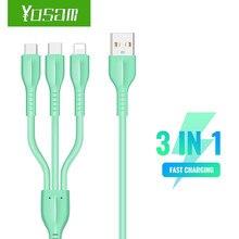 Yosam usb-cabo 3 em 1 líquido de borracha macia cabo usb tipo c cabo para huawei para samsung s20 xiaomi 9 para iphone 12x11 pro max