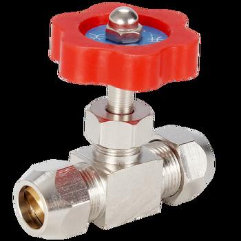 Válvula de bola de Metal resistente de alta presión, tubo de aguja tipo globo, 6mm, 8mm, 10mm, 12mm, mango de plástico naranja, 1 Uds.