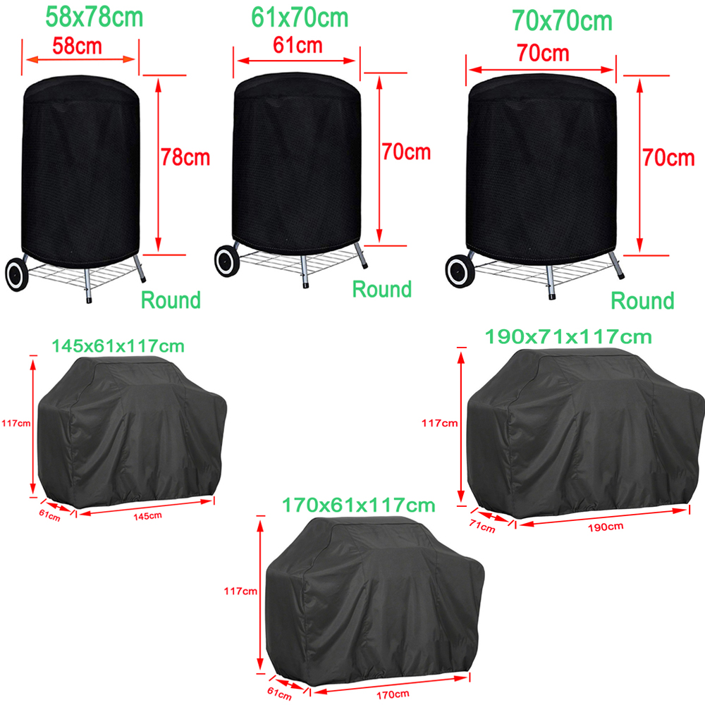 BBQ Cover Outdoor Dust Waterproof Weber Heavy Duty Grill Cover Rain Protective outdoor Barbecue cover round bbq grill black 6