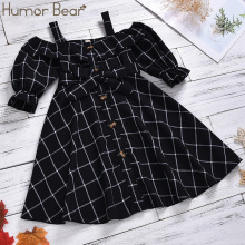 Humor Bear Fashion Girls Dresses Cotton Woven Sling Short Sleeve Baby Girl Cloth