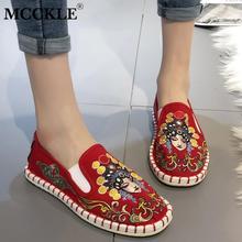 Mocasines MCCKLE de lona tradicionales para mujer, zapatos de mujer, suaves, Vintage, informales, para mujer, cómodos, bajos, Tallas grandes