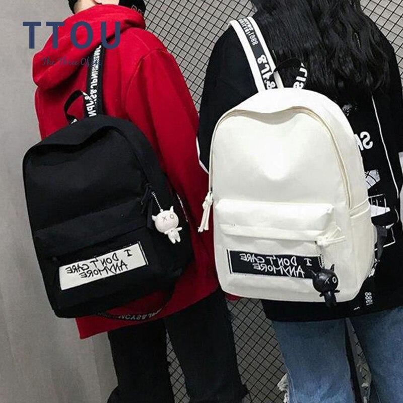 High Quality Canvas Travel Backpack Women Mochila Feminina Letter Print Black White School Bags For Teenage Girl Rucksack