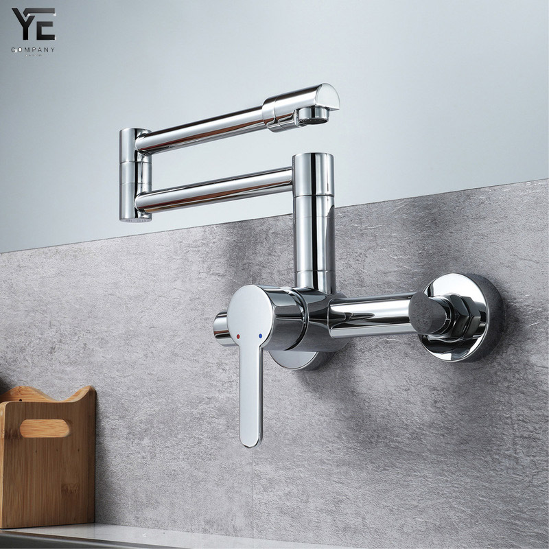 Kitchen Sink Faucets Brass Chrome Fold Kitchen Faucet Extension Hot&Cold Water Kitchen Faucets Mixer Tap Folding Bar Faucet