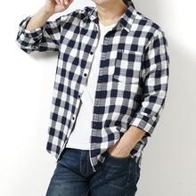男性格子縞のシャツ綿 2020 春の秋のカジュアル長袖シャツオムソフトで快適スタイルブランド男服 6xl 7xlオーバーサイズ