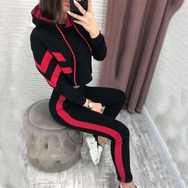 Autumn New Long Sleeve Crop Top Two Piece Set Hooded Sportwear Women Tracksuit Bodycon Skinny Long Pants Slim Outfit Female Suit