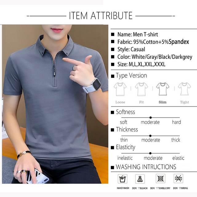 2020 Mens Tshirts Summer Cotton T Shirt Men Short Sleeve Turn-down Collar Korean Style Men T Shirt
