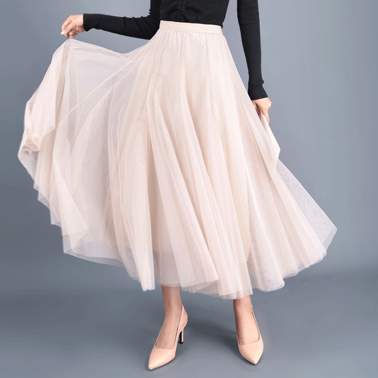 Sherhure 2020 Women Spring Long Mesh Skirts High Waist Elegant Bubble Skirt Faldas Jupe Femme Women Pink Skirt Saia
