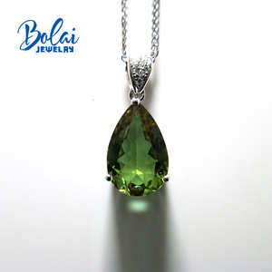 Image 2 - Bolai jewelry,Zultanite  diaspore pear 10*15mm created gemstone pendant  925 sterling silver exquisite ornaments