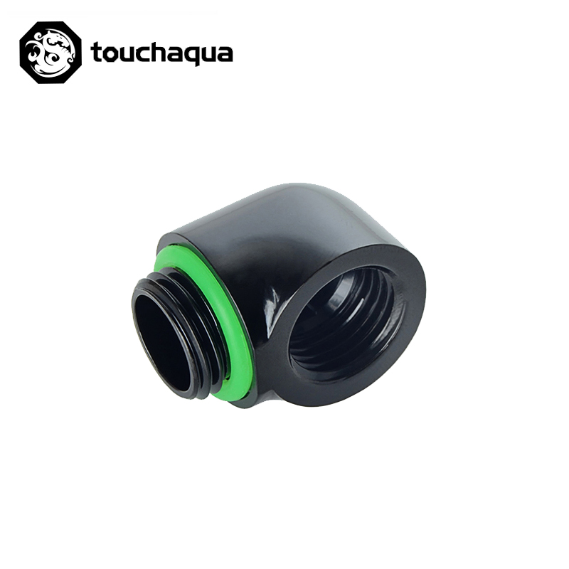 "Bitspower Touchaqua G1/4"" 90 Degree Rotary Elbow Fittings Black ,Silver TA-F39"