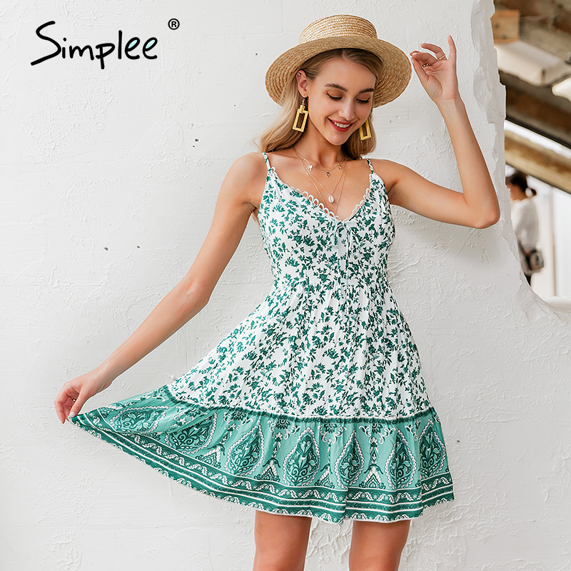 Simplee Sexy V-neck Spaghetti Strap Women Dress Bohemian Floral Print Female Short Sundress Summer Beach Style Ladies Mini Dress