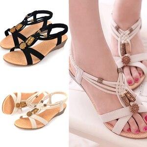 Women Sandals Roman Ladies Sandals 2019 New Wedge Sandals Bohemian Beach Shoes Beaded Summer Women Shoes Ladies Sandals
