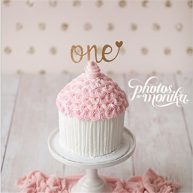 Cakelove 5pc Glitter Cake Topper One Year 1st First Happy Birthday Party Kids Girls Boys Baby Shower Anniversary Decoration Supp