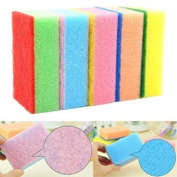 Losowy kolor gąbki do mycia naczyń domowych gąbki do mycia kolorowych gąbek druciana gąbka gąbki kuchenne narzędzie do czyszczenia tanie i dobre opinie KITPIPI CN (pochodzenie) KLZ1442A Ekologiczne KİTCHEN