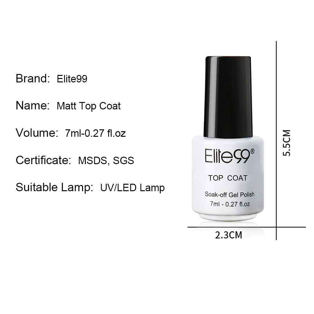 Elite99 7ml mate capa superior Color esmalte de uñas de Gel uv semipermanente arte de uñas Gel pintura efecto mate remojo de los barnices de Gel de uñas