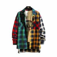 2019 nuova personalità patchwork rosso camicia di plaid degli uomini di strada casual hip hop a maniche lunghe degli uomini della camicia allentata camicia di grandi dimensioni M-5XL