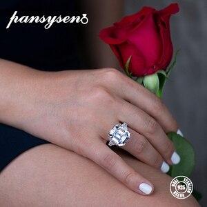 Image 4 - PANSYSEN יוקרה לדמות moissanite סיטרין גדול חן טבעות לנשים מוצק 925 כסף בסדר תכשיטי טבעת גודל 5 12