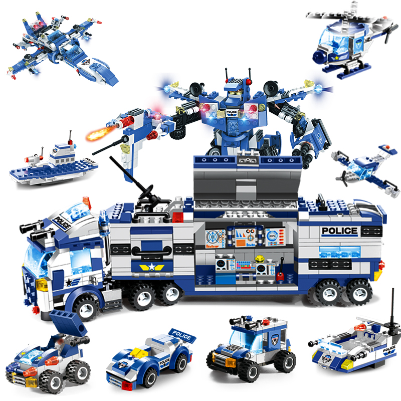 8 IN 1 City Police War Generals Robot Car Building Blocks LegoING SWAT Team Helicopter Bricks Educational Toys For Children