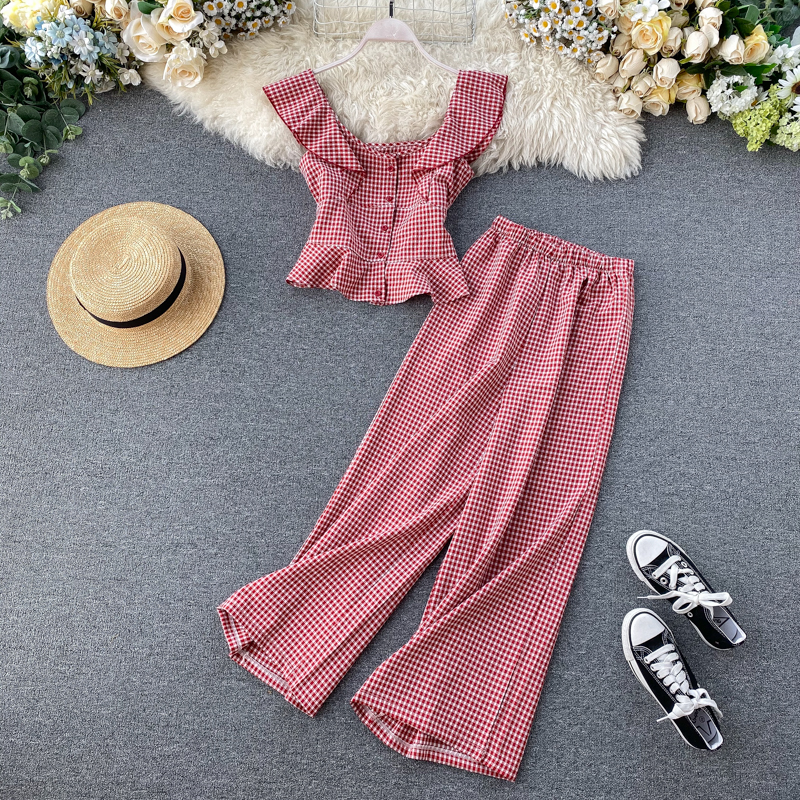 2020 Early Spring New Suit Two-piece Set Age Reducing Western Style Short Ruffled Plaid Shirt High Waist Wide Leg Pants Tide