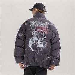 Venda quente jaqueta de hip hop parka ferido urso impressão homem inverno blusão streetwear harajuku acolchoado jaqueta casaco quente outwear hipster