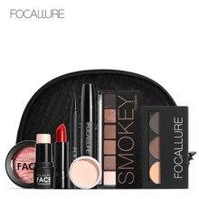 Focallure conjunto de maquiagem 8 pçs/set, incluindo batom, delineador, rímel, sombra, kit de maquiagem de sobrancelha em pó, bolsa cosmética para mulheres