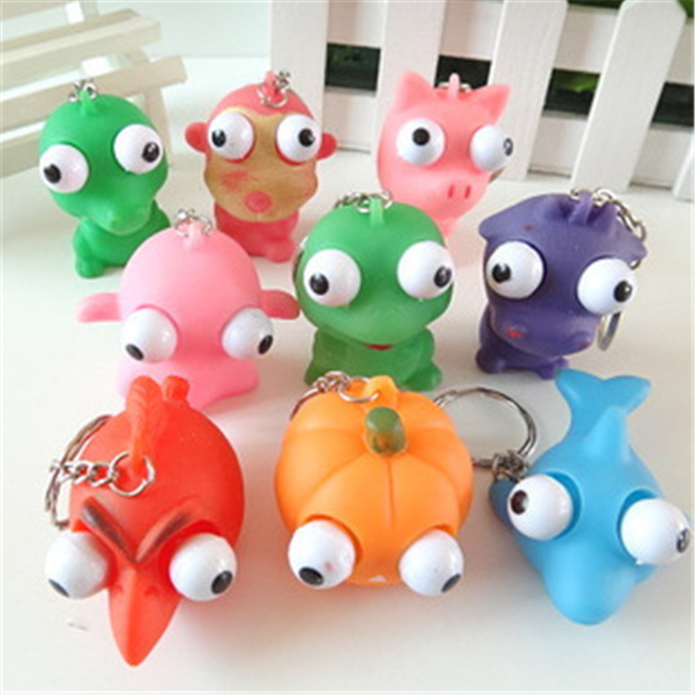 Animal Squeeze Toy Out Eyes Doll Stress Relief Venting Keychain Joking Decompression Toys Ring Hand Grips Muscle Power Training