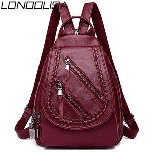 Image 1 - Weave Backpack Female Genuine Leather Backpack Women Large Capacity Travel Bag Zipper Shoulder Bags for Women 2020 Sac