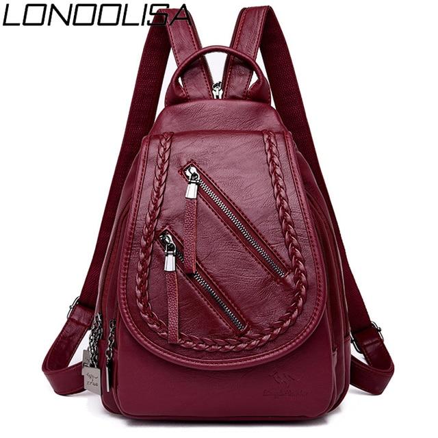 Weave Backpack Female Genuine Leather Backpack Women Large Capacity Travel Bag Zipper Shoulder Bags for Women 2020 Sac